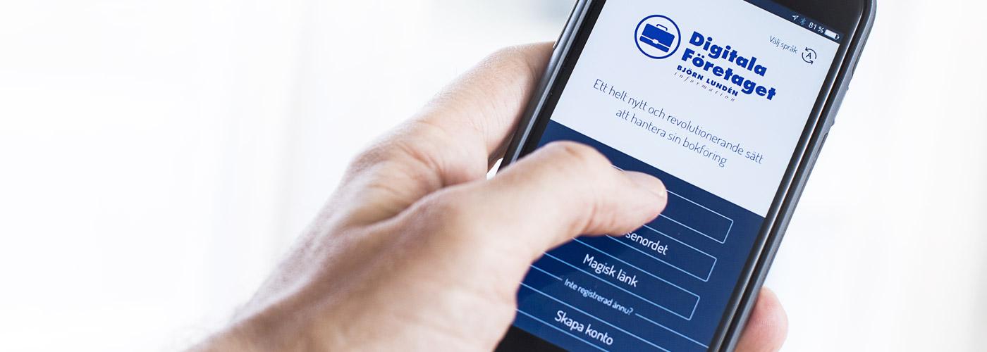 Vi på Ekonomipartner använder oss av appen Digitala Företaget från Björn Lundén Information. Med hjälp av denna tjänst kan du som kund på ett modernt sätt hantera alla flöden i mobilen eller via webben – fakturering, utläggshantering, tidsrapportering, körjournal m m.